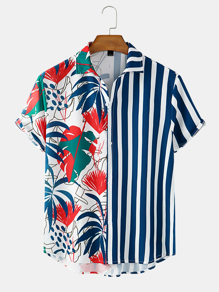 Banggood Design Spliced Tropical Leaf Colorful Stripe Mixed Print Short Sleeve Casual Holiday Shirts