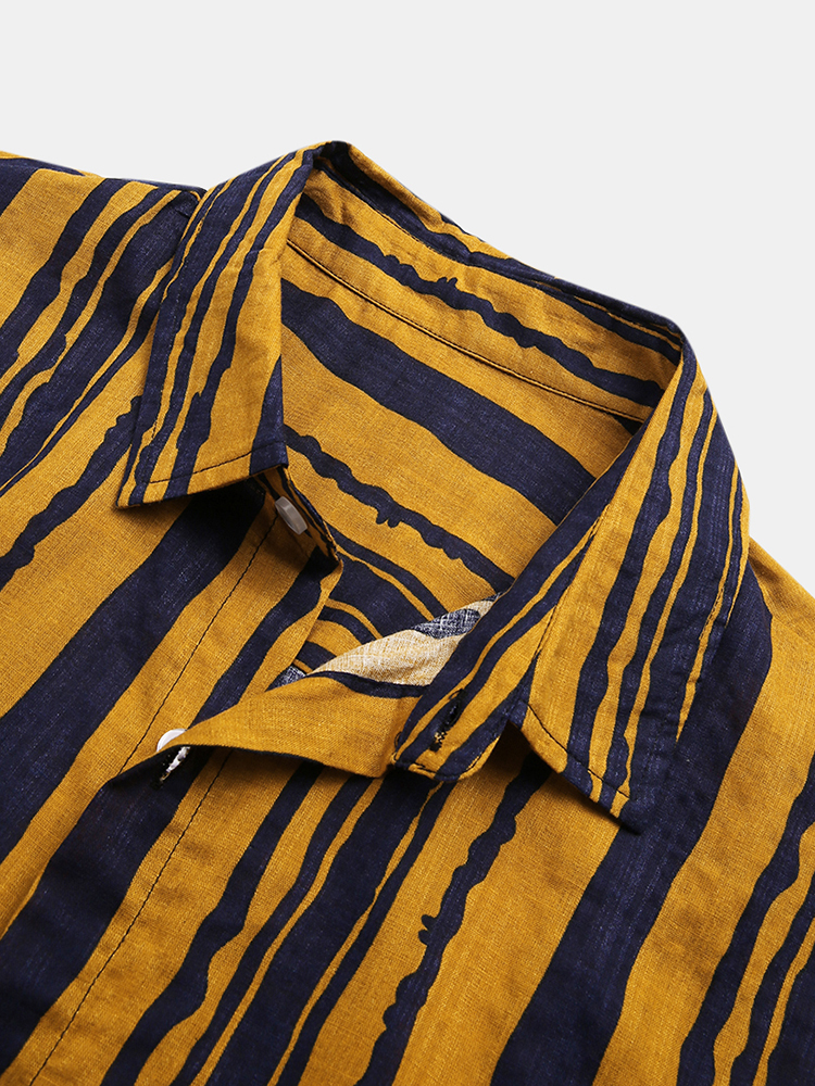Mens Vintage 100% Cotton Breathable Stripe Style Casual Shirts