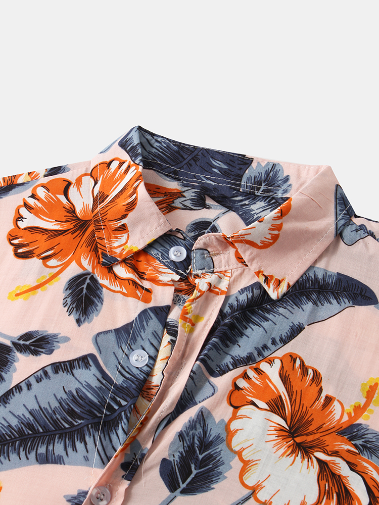 Men Casual Floral Print Turn Down Collar Hawaii Beach Short Sleeve Shirts