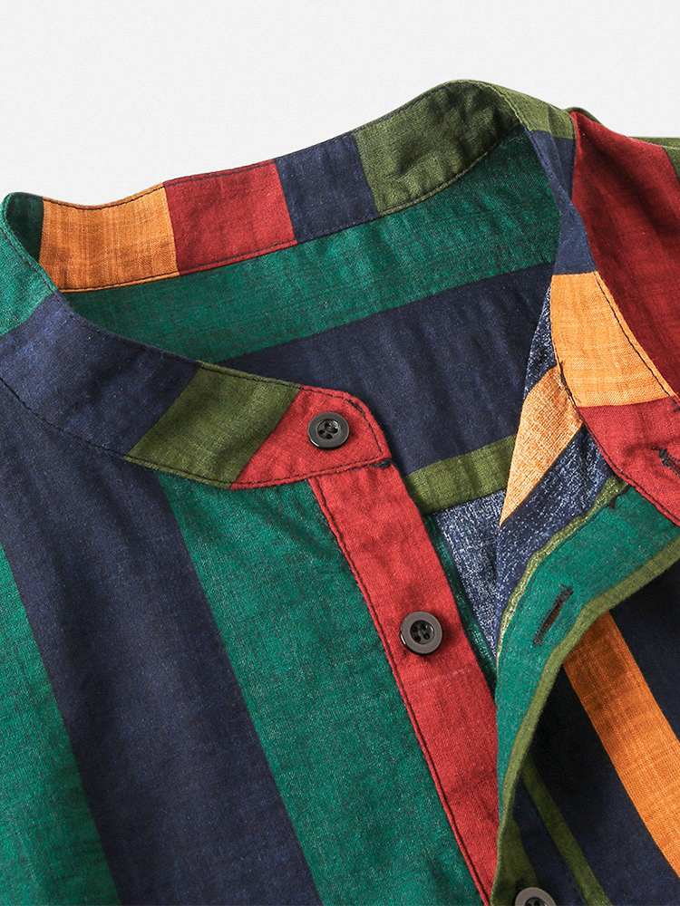Mens Cotton Colorful Striped Henley Collar Short Sleeve Shirts